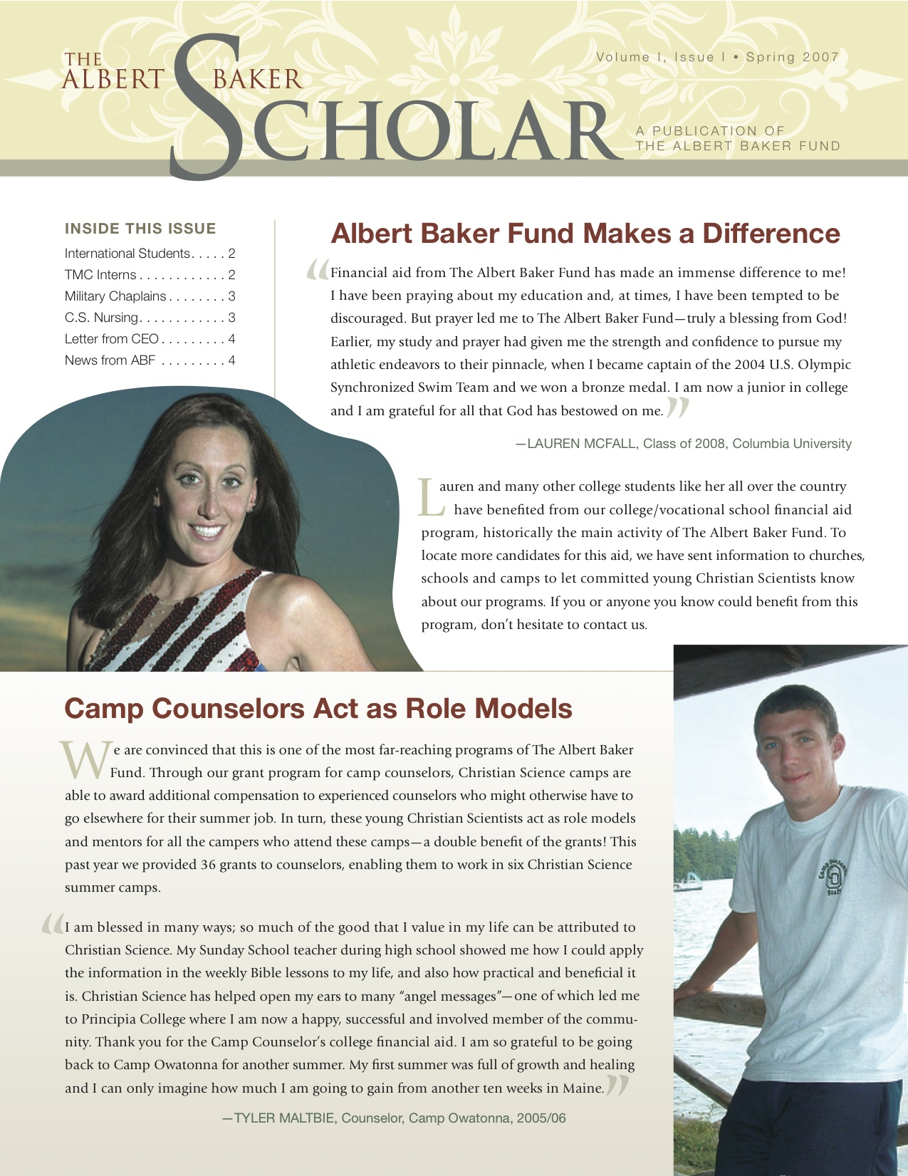 The Albert Baker Scholar Newsletter - Spring 2007