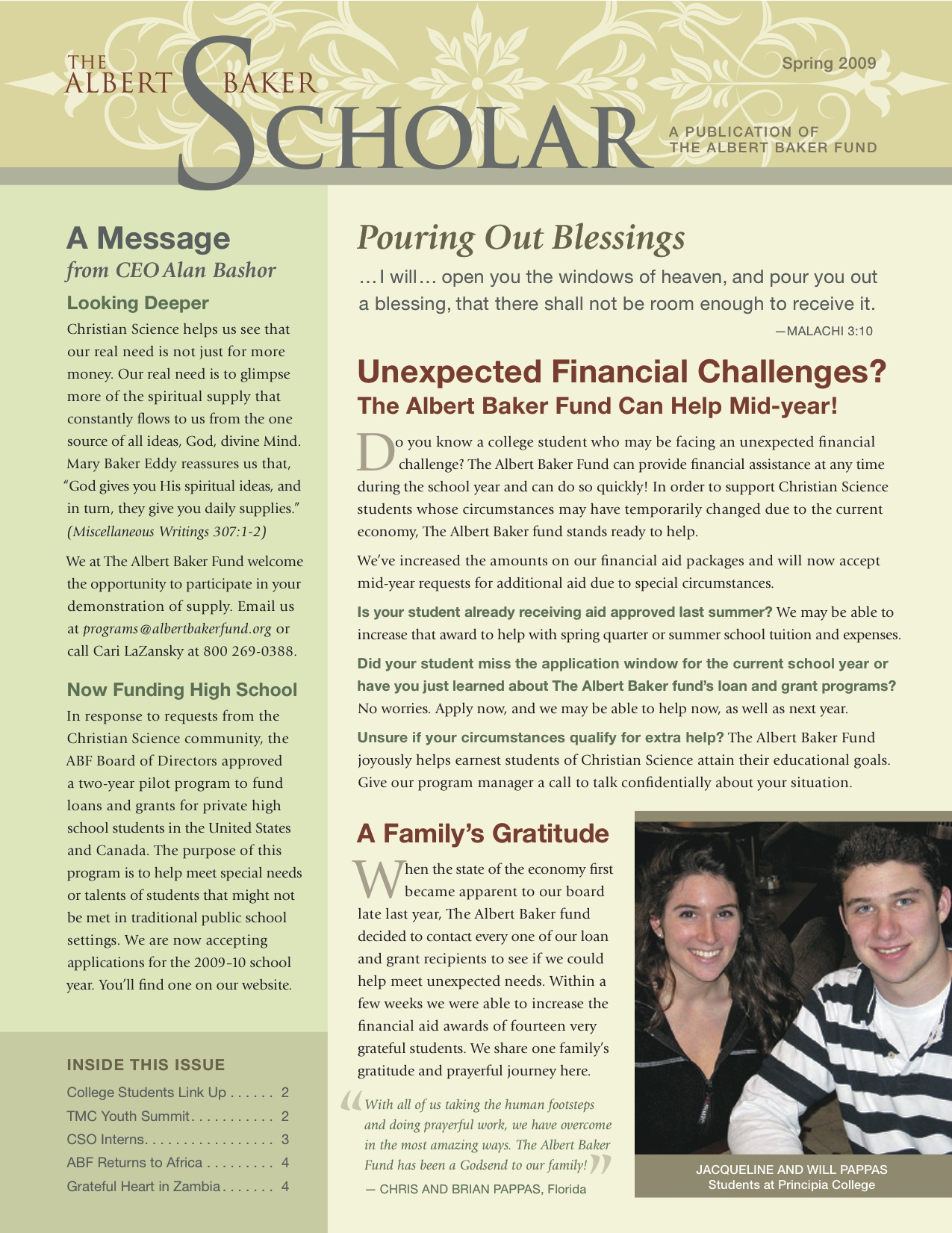 The Albert Baker Scholar - Spring 2009 Newsletter