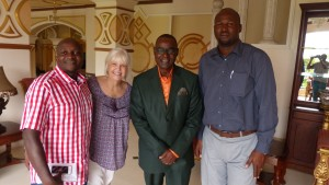 Our programd director, Marilyn Jones, with our Africa staff (Lamech Katamba, far left, and Jean Leonard Ngabo, far right) and Emmanuel M'fundani, ABF In-Country Representative for the Congo.