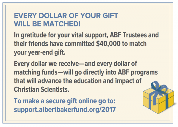 Every dollar of your gift will be matched